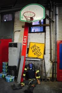 Training dummy inside Hook & Ladder 8 Firehouse, New York City