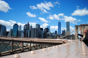 View on Downtown Manhattan from the Brooklyn Bridge, New York City