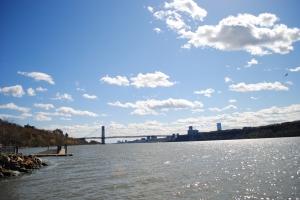 Hudson River - view on George Washington Bridge, New York City