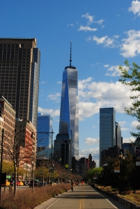 1WTC (middle) & 7WTC (left) seen from West Street, New York City