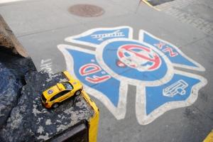 Hook & Ladder 8 logo on sidewalk, New York City