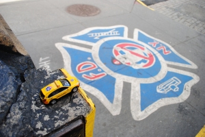 Hook & Ladder 8 logo on sidewalk, New York City