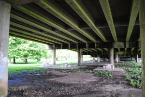 Tables underneath Interstate 610, City Park New Orleans