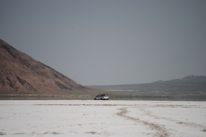 Pickup truck stuck in the Bonneville Salt Flats, Utah