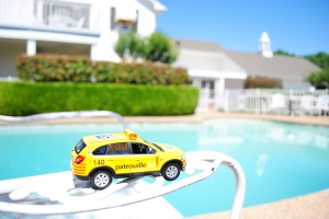 Chevy Captiva enjoying the sun next to the pool, Southfork Ranch, 3700 Hogge Drive, Parker