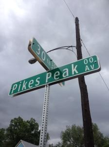 Pikes Peak road sign
