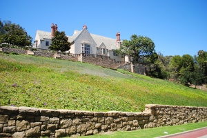 Back side of Greystone Mansion, Beverly Hills, California