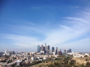 View of downtown Los Angeles from Dodger Stadium parking lot, 1000 Elysian Park Avenue, Los Angeles, California